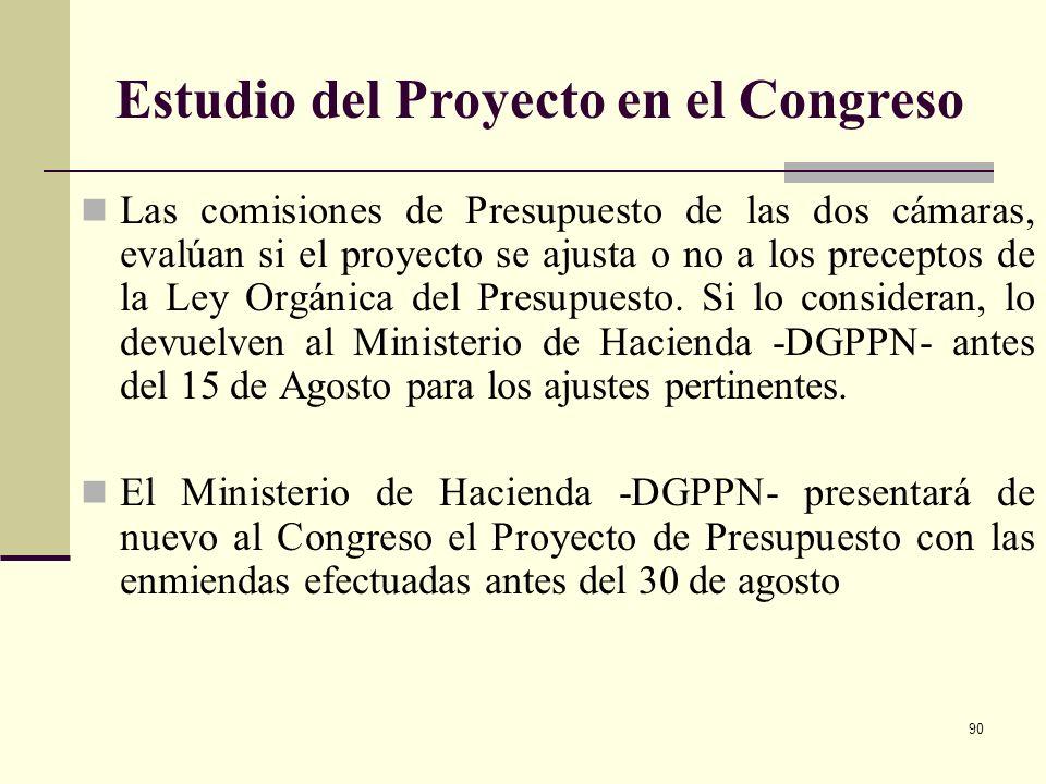 89 Presentación del Proyecto de ley Anual del Presupuesto General de la Nación ante el Congreso Lo hace el Gobierno a través del Ministerio de Haciend