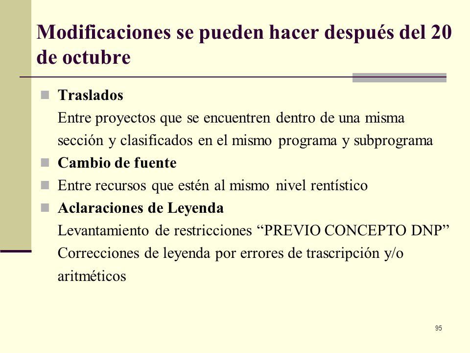 94 Características técnicas de la Ley que expide el Congreso Sección 4 dígitos (nombre de la sección pptal) Presupuesto de funcionamiento Servicio de