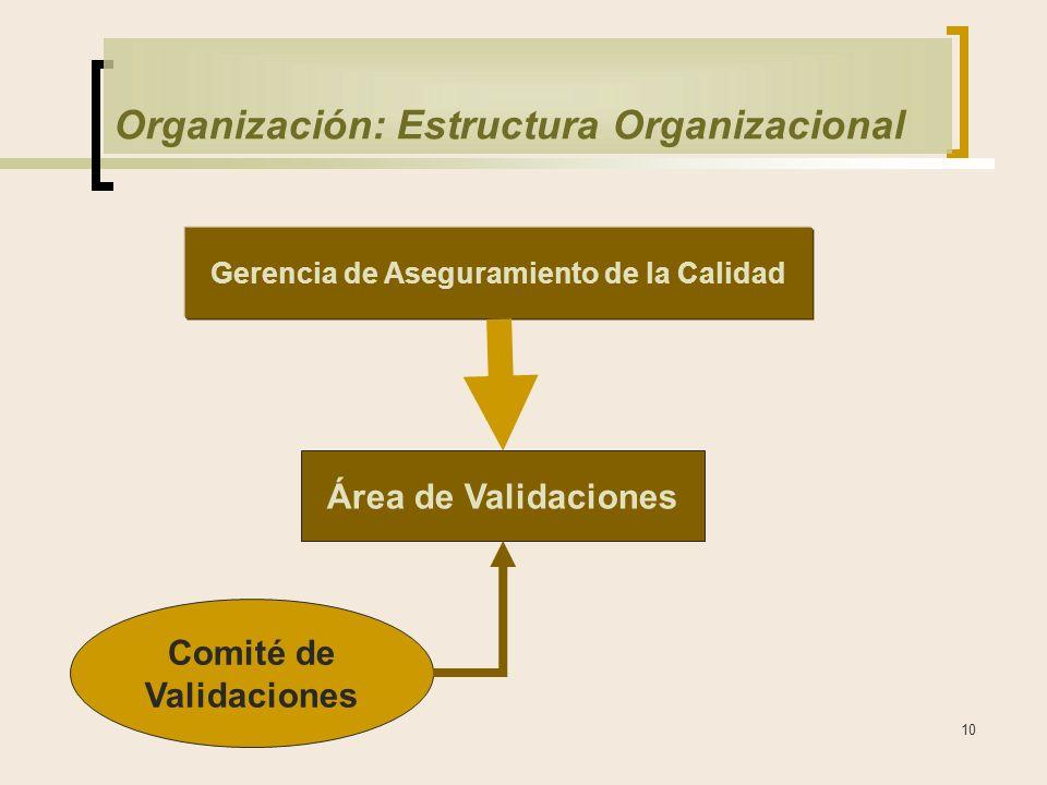 10 Organización: Estructura Organizacional Gerencia de Aseguramiento de la Calidad Área de Validaciones Comité de Validaciones