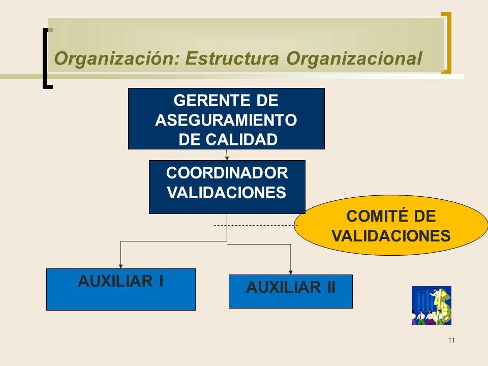 11 Organización: Estructura Organizacional COMITÉ DE VALIDACIONES GERENTE DE ASEGURAMIENTO DE CALIDAD COORDINADOR VALIDACIONES AUXILIAR I AUXILIAR II