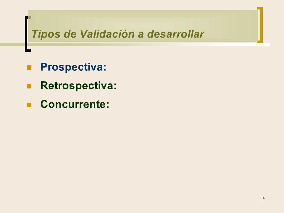 14 Tipos de Validación a desarrollar Prospectiva: Retrospectiva: Concurrente:
