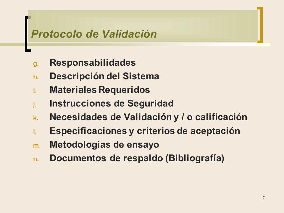 17 Protocolo de Validación g.Responsabilidades h.