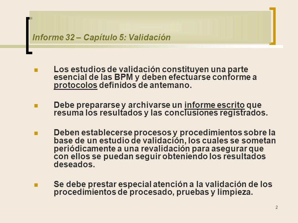 2 Informe 32 – Capítulo 5: Validación Los estudios de validación constituyen una parte esencial de las BPM y deben efectuarse conforme a protocolos definidos de antemano.