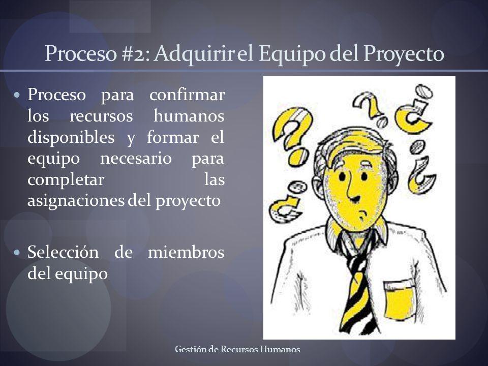Gestión de Recursos Humanos Proceso #2: Adquirir el Equipo del Proyecto Proceso para confirmar los recursos humanos disponibles y formar el equipo nec