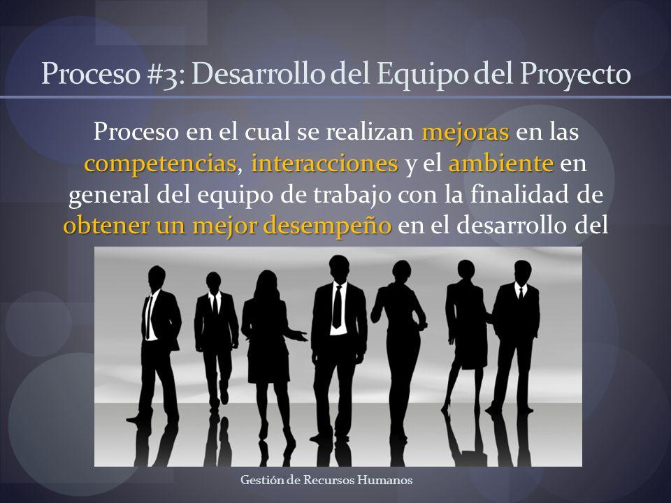 Gestión de Recursos Humanos Proceso #3: Desarrollo del Equipo del Proyecto mejoras competenciasinteraccionesambiente obtener un mejor desempeño Proces