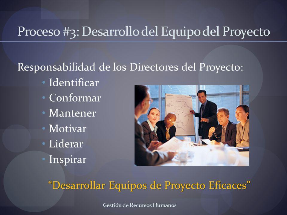 Gestión de Recursos Humanos Proceso #3: Desarrollo del Equipo del Proyecto Responsabilidad de los Directores del Proyecto: Identificar Conformar Mante