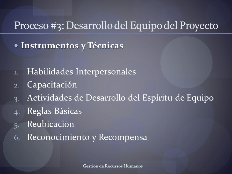Gestión de Recursos Humanos Proceso #3: Desarrollo del Equipo del Proyecto Instrumentos y Técnicas Instrumentos y Técnicas 1. Habilidades Interpersona