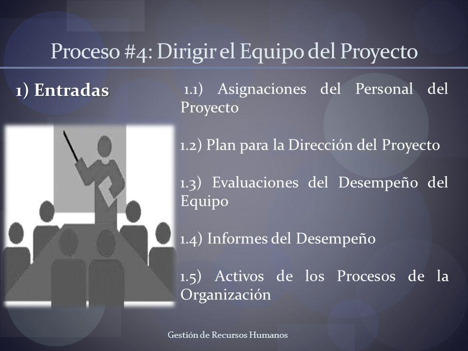 Gestión de Recursos Humanos Proceso #4: Dirigir el Equipo del Proyecto 1) Entradas 1.1) Asignaciones del Personal del Proyecto 1.2) Plan para la Direc