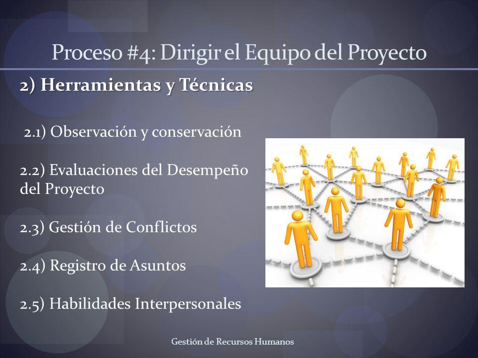Gestión de Recursos Humanos Proceso #4: Dirigir el Equipo del Proyecto 2) Herramientas y Técnicas 2.1) Observación y conservación 2.2) Evaluaciones de