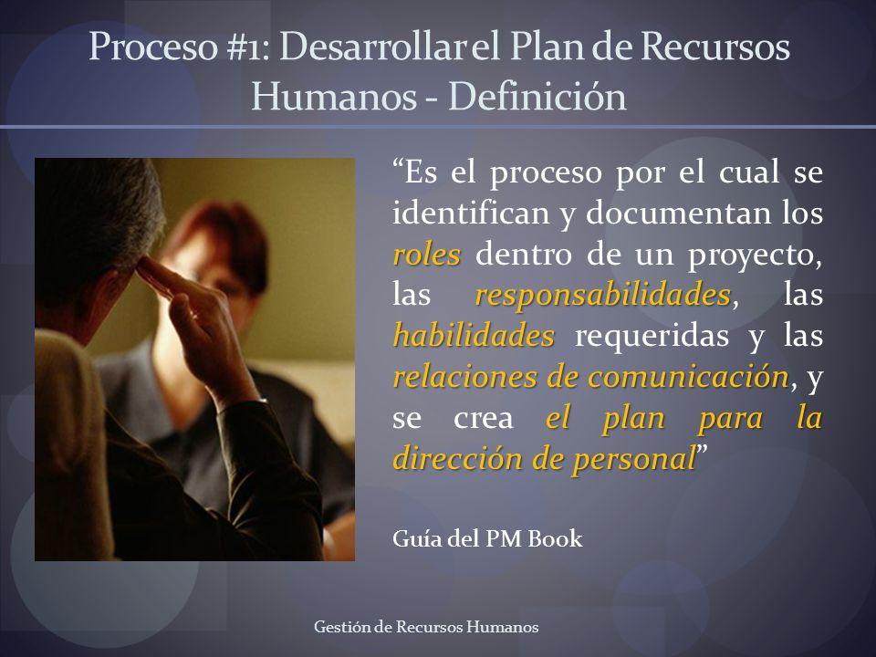 Gestión de Recursos Humanos Proceso #1: Desarrollar el Plan de Recursos Humanos - Definición roles responsabilidades habilidades relaciones de comunic