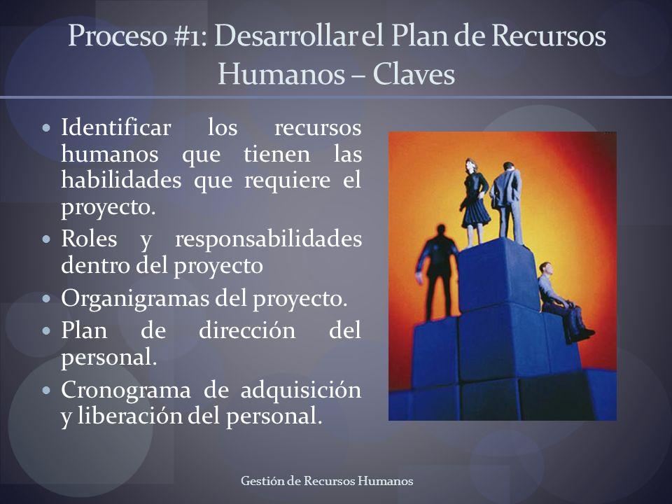 Gestión de Recursos Humanos Proceso #1: Desarrollar el Plan de Recursos Humanos – Claves Identificar los recursos humanos que tienen las habilidades q