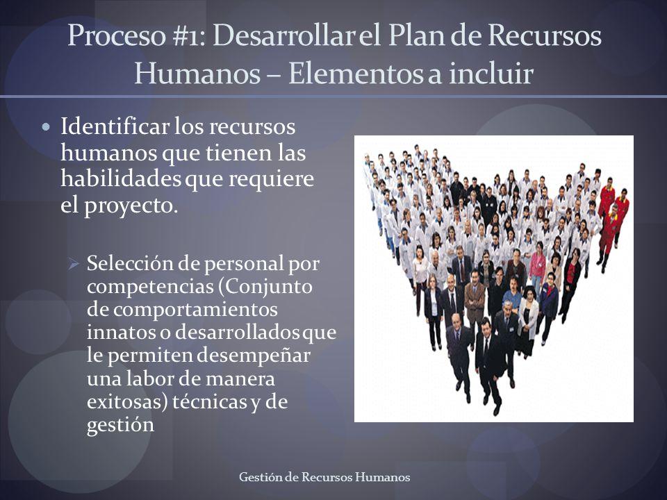 Gestión de Recursos Humanos Proceso #1: Desarrollar el Plan de Recursos Humanos – Elementos a incluir Identificar los recursos humanos que tienen las