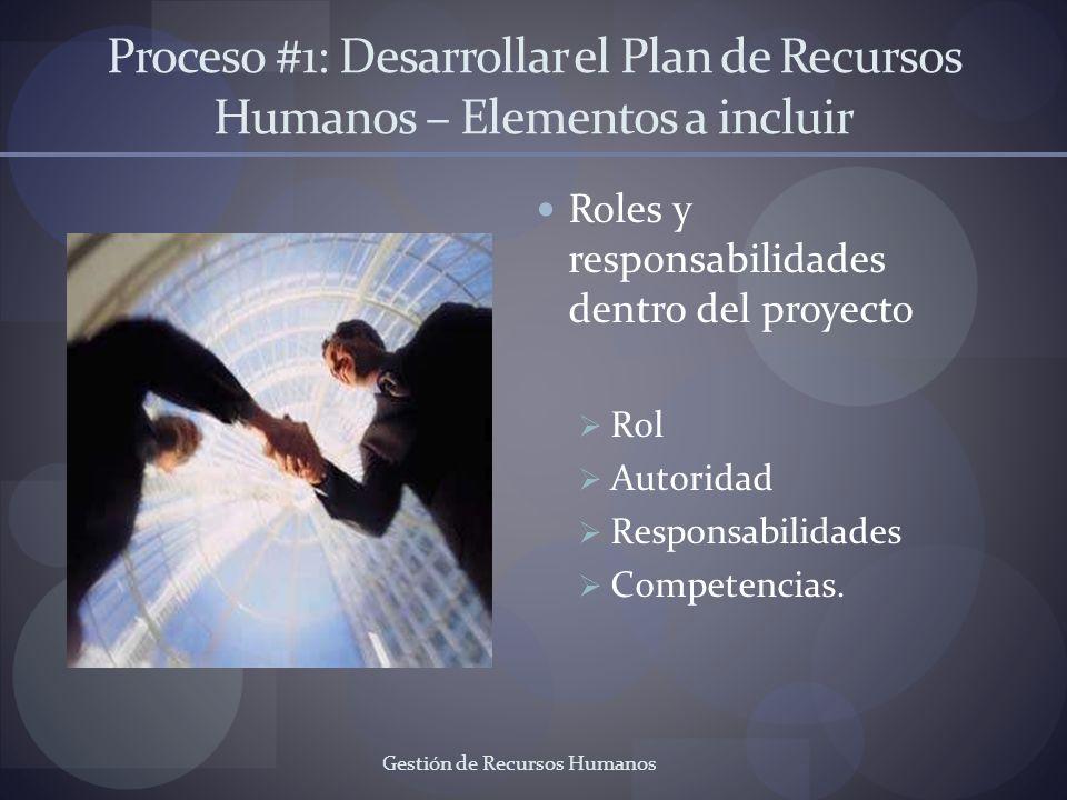 Gestión de Recursos Humanos Proceso #1: Desarrollar el Plan de Recursos Humanos – Elementos a incluir Roles y responsabilidades dentro del proyecto Ro
