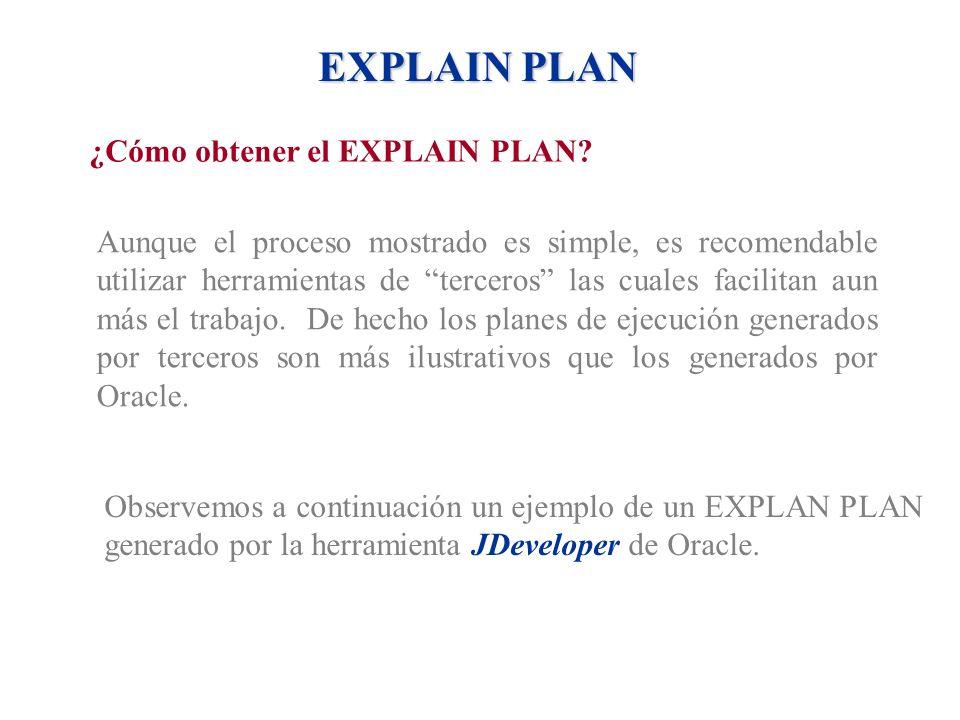 EXPLAIN PLAN ¿Cómo obtener el EXPLAIN PLAN? Aunque el proceso mostrado es simple, es recomendable utilizar herramientas de terceros las cuales facilit