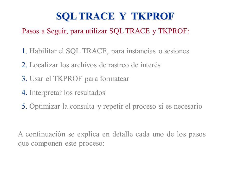 SQL TRACE Y TKPROF Pasos a Seguir, para utilizar SQL TRACE y TKPROF: 1. Habilitar el SQL TRACE, para instancias o sesiones 2. Localizar los archivos d