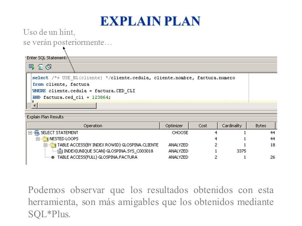 EXPLAIN PLAN Podemos observar que los resultados obtenidos con esta herramienta, son más amigables que los obtenidos mediante SQL*Plus. Uso de un hint