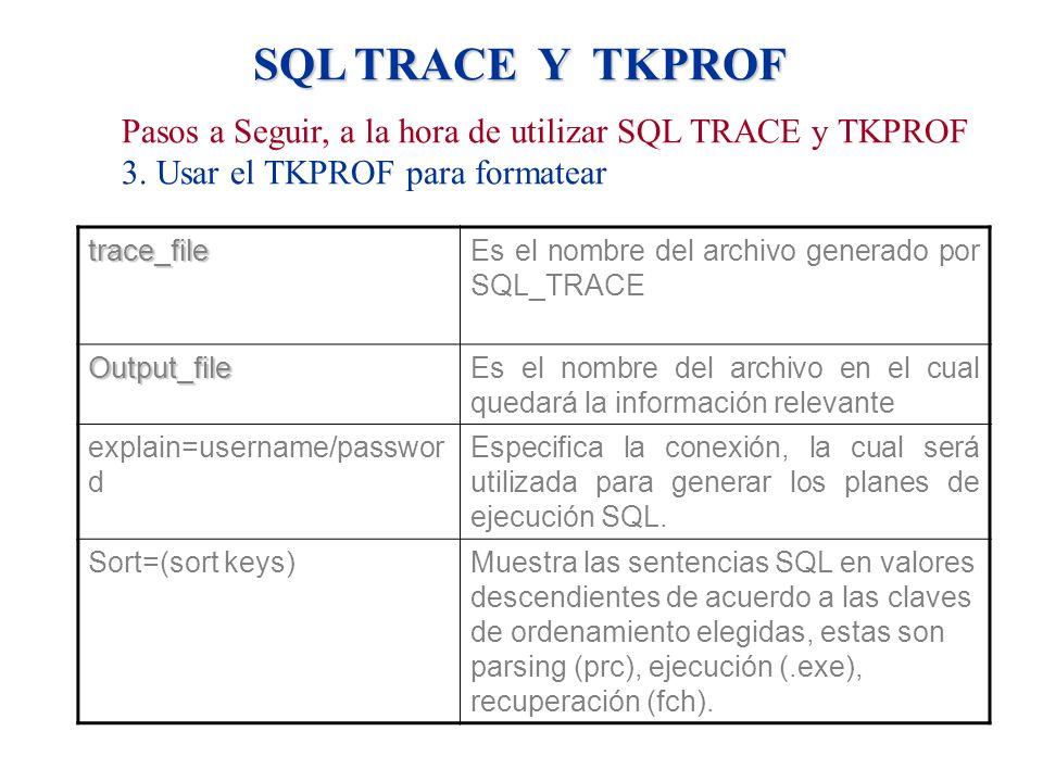 SQL TRACE Y TKPROF Pasos a Seguir, a la hora de utilizar SQL TRACE y TKPROF 3. Usar el TKPROF para formatear trace_fileEs el nombre del archivo genera