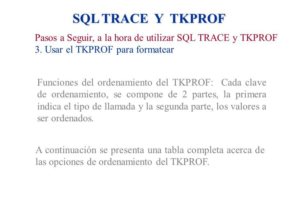 SQL TRACE Y TKPROF Funciones del ordenamiento del TKPROF: Cada clave de ordenamiento, se compone de 2 partes, la primera indica el tipo de llamada y l