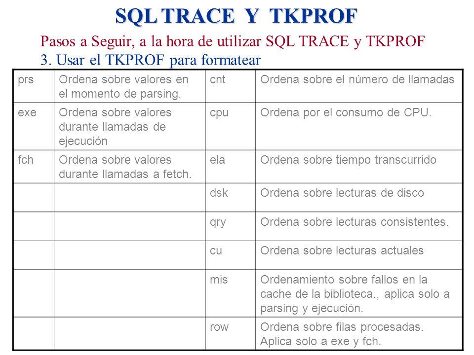 SQL TRACE Y TKPROF prsOrdena sobre valores en el momento de parsing. cntOrdena sobre el número de llamadas exeOrdena sobre valores durante llamadas de