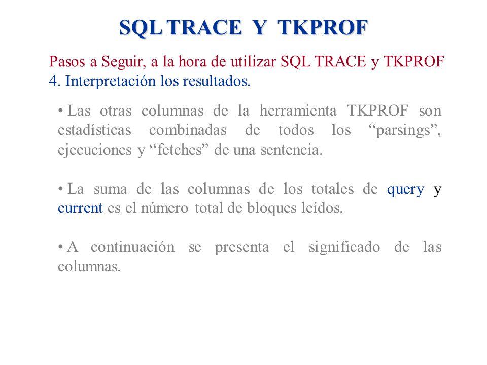 Las otras columnas de la herramienta TKPROF son estadísticas combinadas de todos los parsings, ejecuciones y fetches de una sentencia. La suma de las