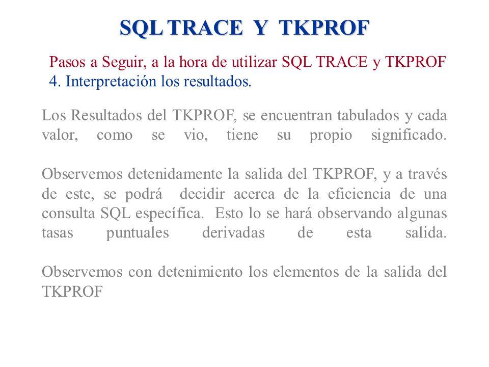 SQL TRACE Y TKPROF Los Resultados del TKPROF, se encuentran tabulados y cada valor, como se vio, tiene su propio significado. Observemos detenidamente
