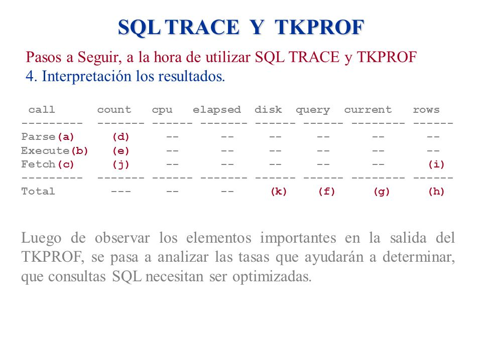 SQL TRACE Y TKPROF call count cpu elapsed disk query current rows --------- ------- ------ ------- ------ ------ -------- ------ Parse(a) (d) -- -- --