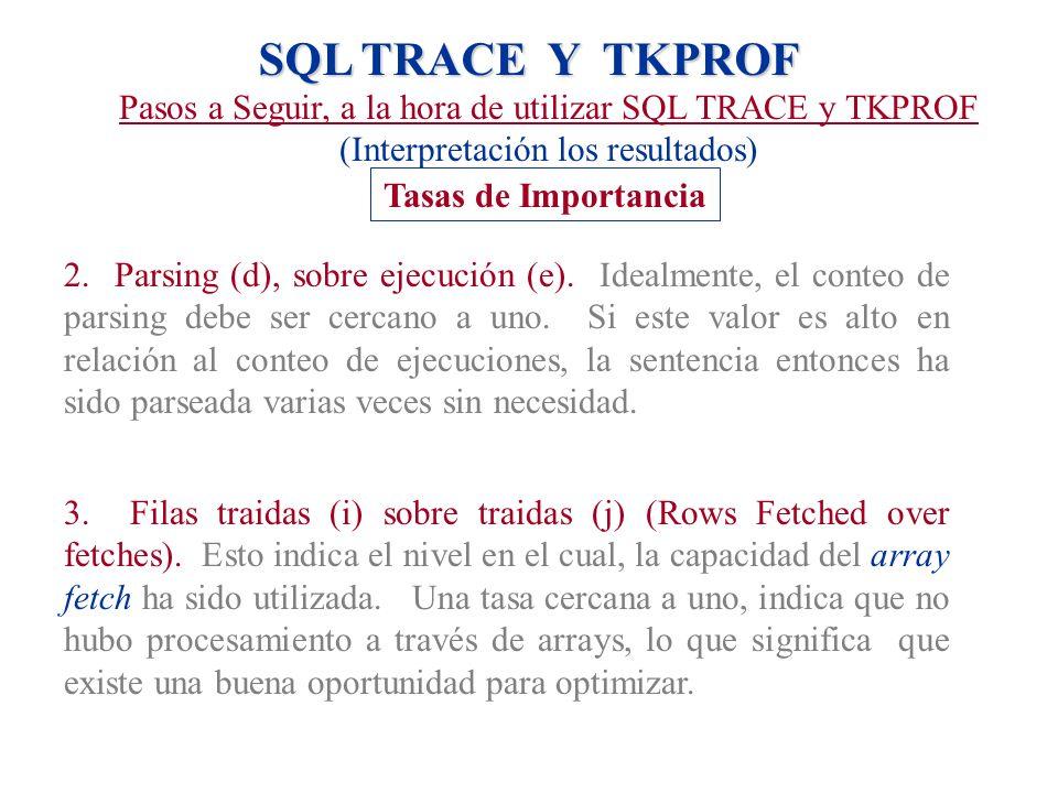 SQL TRACE Y TKPROF Pasos a Seguir, a la hora de utilizar SQL TRACE y TKPROF (Interpretación los resultados) Tasas de Importancia 2. Parsing (d), sobre