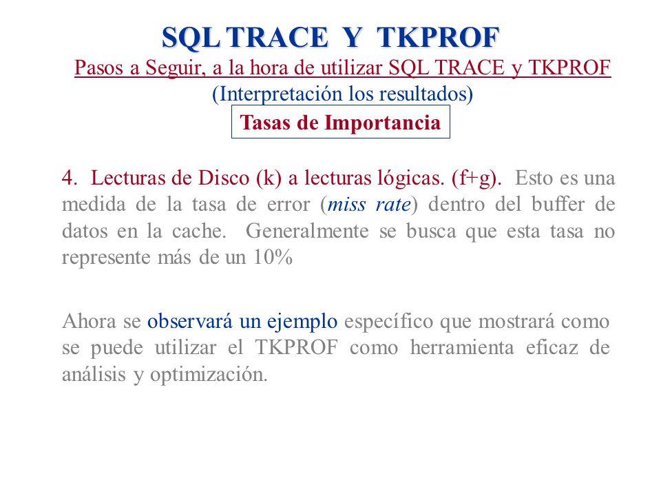 SQL TRACE Y TKPROF Pasos a Seguir, a la hora de utilizar SQL TRACE y TKPROF (Interpretación los resultados) Tasas de Importancia 4. Lecturas de Disco