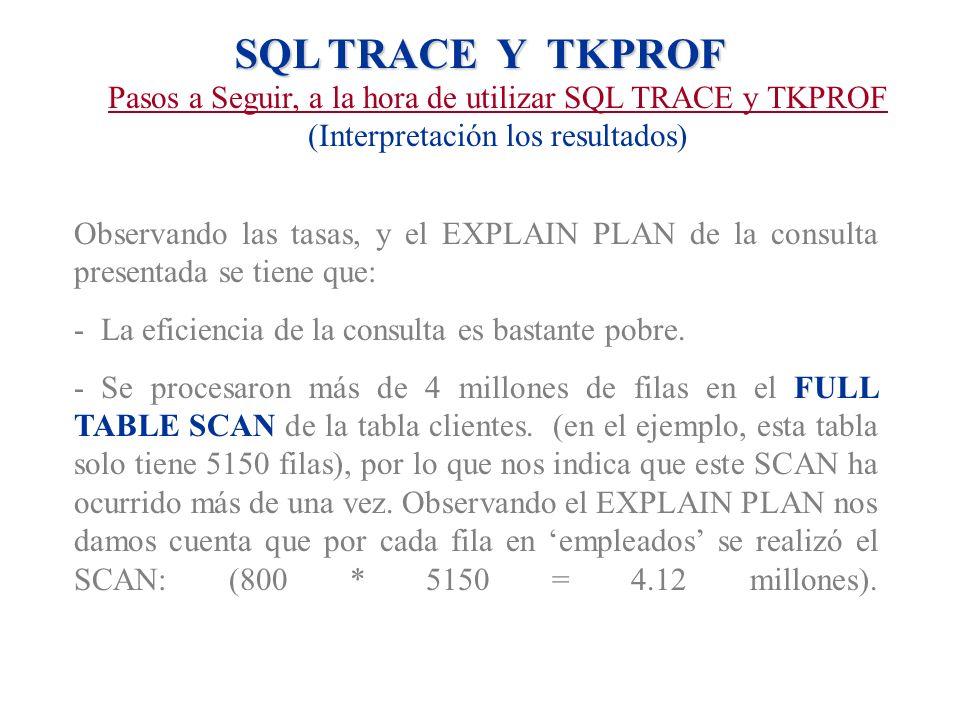 SQL TRACE Y TKPROF Pasos a Seguir, a la hora de utilizar SQL TRACE y TKPROF (Interpretación los resultados) Observando las tasas, y el EXPLAIN PLAN de