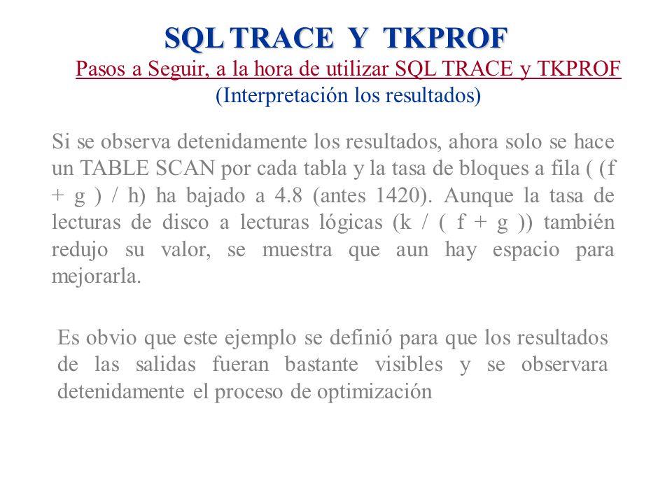 SQL TRACE Y TKPROF Pasos a Seguir, a la hora de utilizar SQL TRACE y TKPROF (Interpretación los resultados) Si se observa detenidamente los resultados