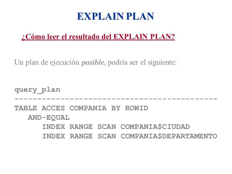 EXPLAIN PLAN ¿Cómo leer el resultado del EXPLAIN PLAN? posible Un plan de ejecución posible, podría ser el siguiente: query_plan ---------------------