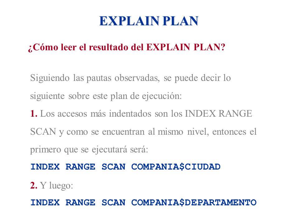 EXPLAIN PLAN ¿Cómo leer el resultado del EXPLAIN PLAN? Siguiendo las pautas observadas, se puede decir lo siguiente sobre este plan de ejecución: 1. L