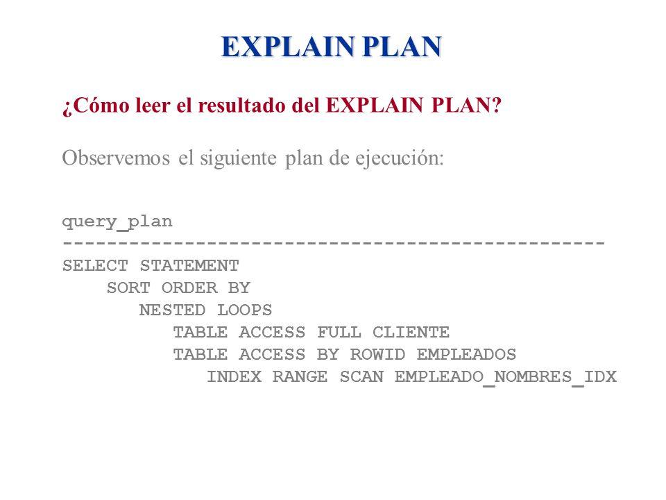 EXPLAIN PLAN ¿Cómo leer el resultado del EXPLAIN PLAN? Observemos el siguiente plan de ejecución: query_plan -----------------------------------------