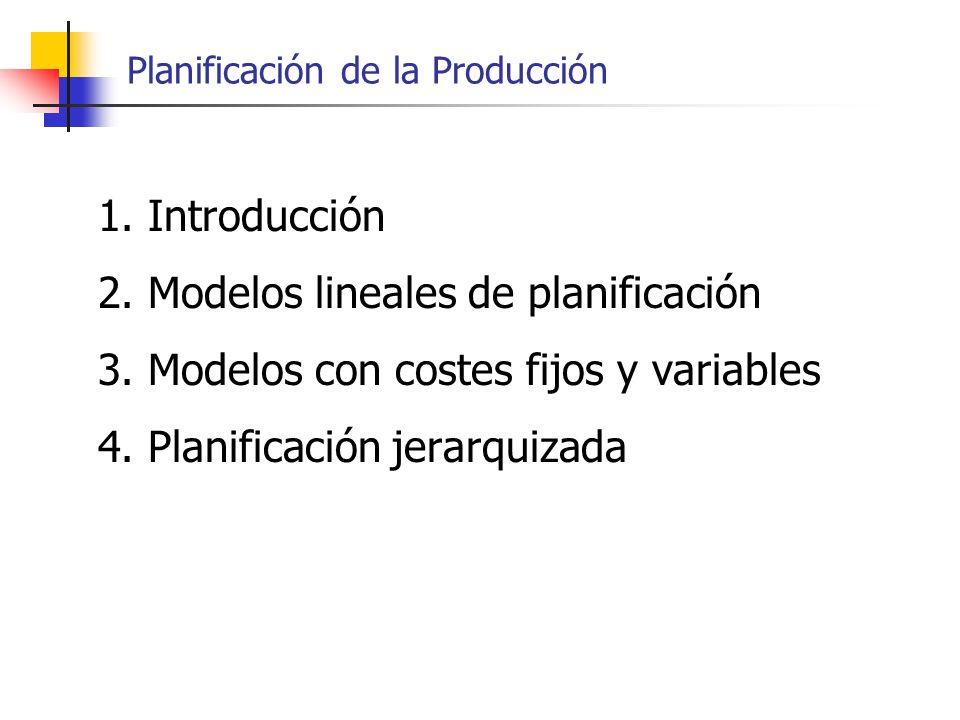 Planificación de la Producción 1. Introducción 2. Modelos lineales de planificación 3. Modelos con costes fijos y variables 4. Planificación jerarquiz