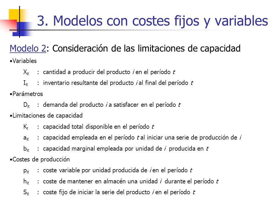 3. Modelos con costes fijos y variables Modelo 2: Consideración de las limitaciones de capacidad Variables X it : cantidad a producir del producto i e