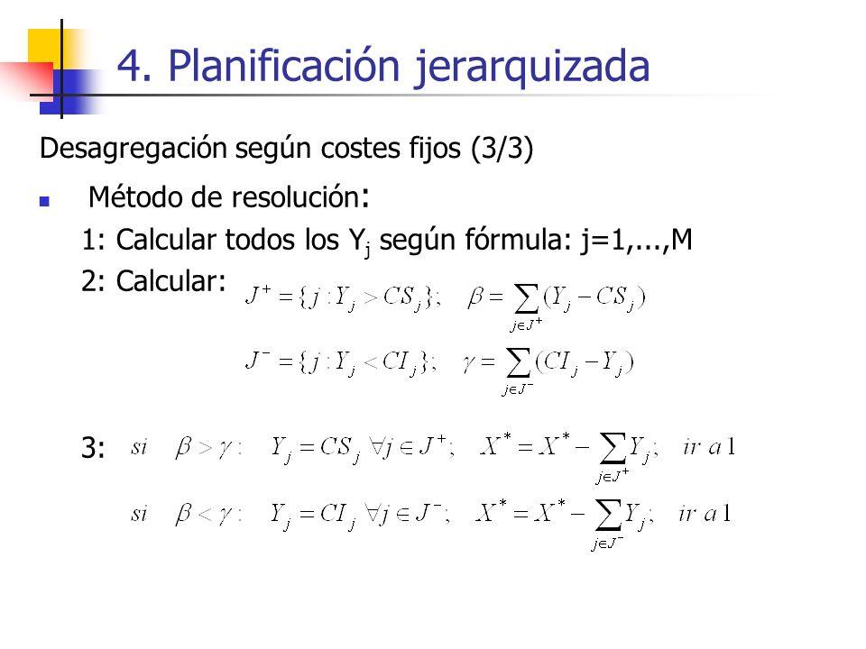 4. Planificación jerarquizada Método de resolución : 1: Calcular todos los Y j según fórmula: j=1,...,M 2: Calcular: 3: Desagregación según costes fij