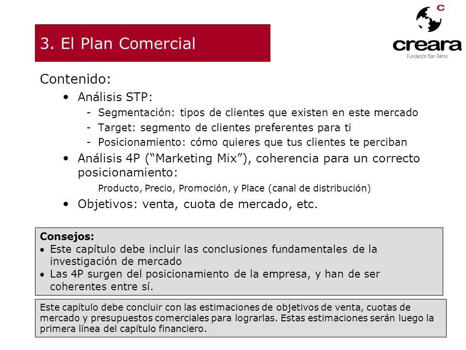 3. El Plan Comercial Contenido: Análisis STP: -Segmentación: tipos de clientes que existen en este mercado -Target: segmento de clientes preferentes p