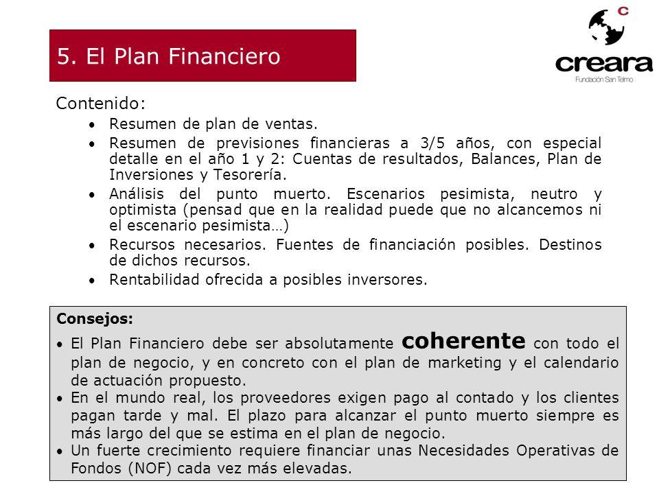 5. El Plan Financiero Contenido: Resumen de plan de ventas. Resumen de previsiones financieras a 3/5 años, con especial detalle en el año 1 y 2: Cuent