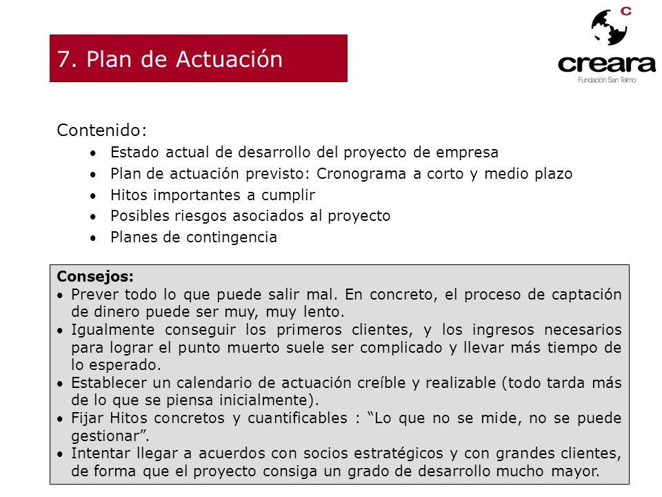 7. Plan de Actuación Contenido: Estado actual de desarrollo del proyecto de empresa Plan de actuación previsto: Cronograma a corto y medio plazo Hitos
