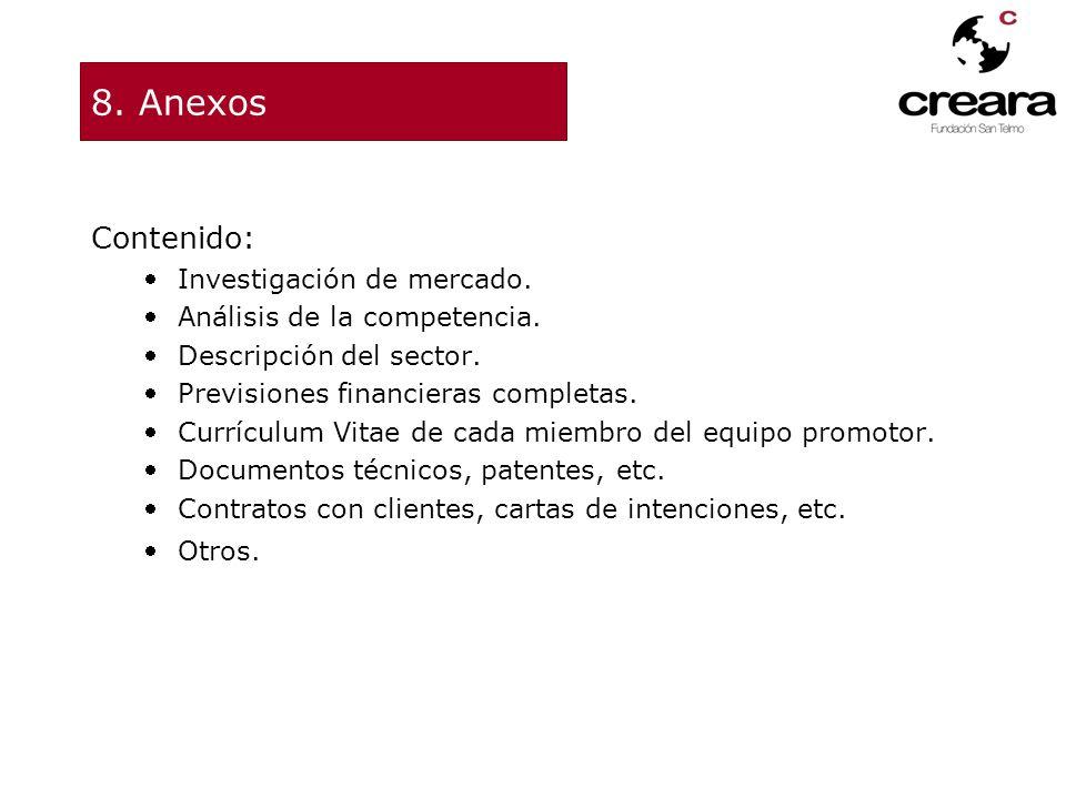 8. Anexos Contenido: Investigación de mercado. Análisis de la competencia. Descripción del sector. Previsiones financieras completas. Currículum Vitae