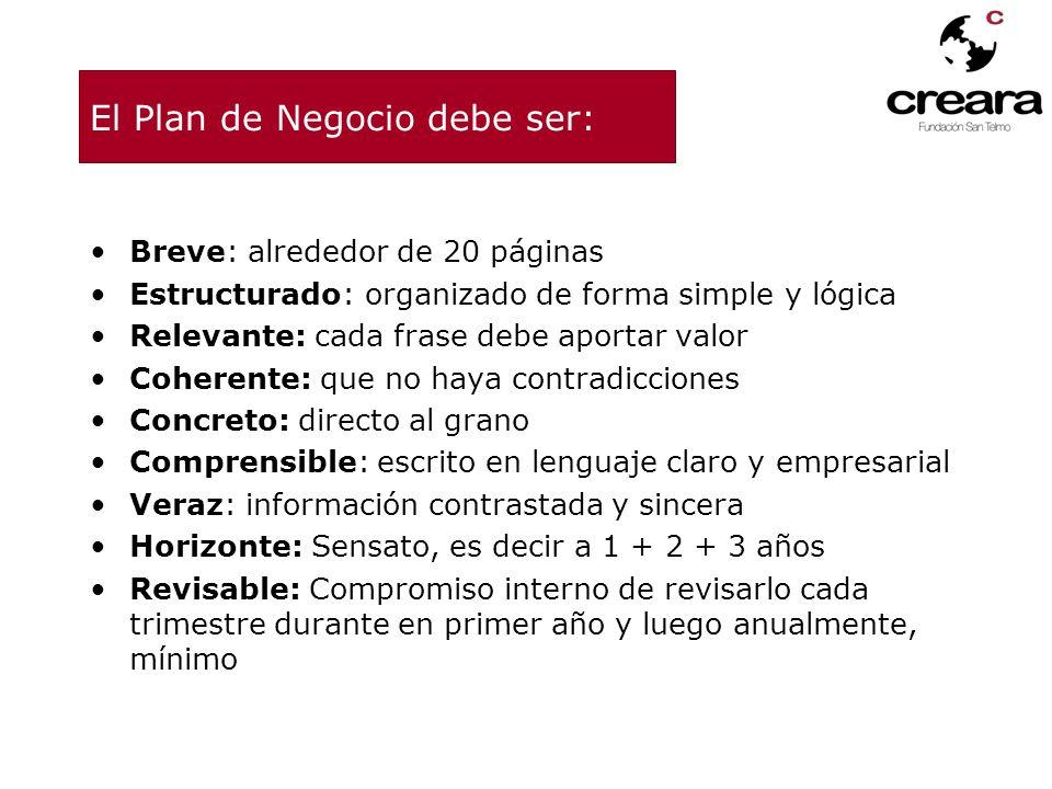 El Plan de Negocio debe ser: Breve: alrededor de 20 páginas Estructurado: organizado de forma simple y lógica Relevante: cada frase debe aportar valor