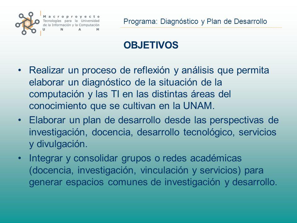 Programa: Diagnóstico y Plan de Desarrollo OBJETIVOS Realizar un proceso de reflexión y análisis que permita elaborar un diagnóstico de la situación de la computación y las TI en las distintas áreas del conocimiento que se cultivan en la UNAM.