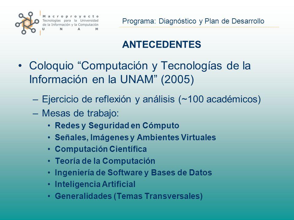 Programa: Diagnóstico y Plan de Desarrollo ANTECEDENTES Coloquio Computación y Tecnologías de la Información en la UNAM (2005) –Ejercicio de reflexión y análisis (~100 académicos) –Mesas de trabajo: Redes y Seguridad en Cómputo Señales, Imágenes y Ambientes Virtuales Computación Científica Teoría de la Computación Ingeniería de Software y Bases de Datos Inteligencia Artificial Generalidades (Temas Transversales)
