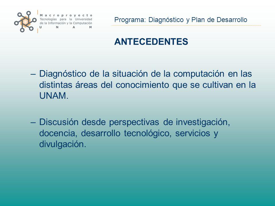 Programa: Diagnóstico y Plan de Desarrollo ANTECEDENTES –Diagnóstico de la situación de la computación en las distintas áreas del conocimiento que se cultivan en la UNAM.