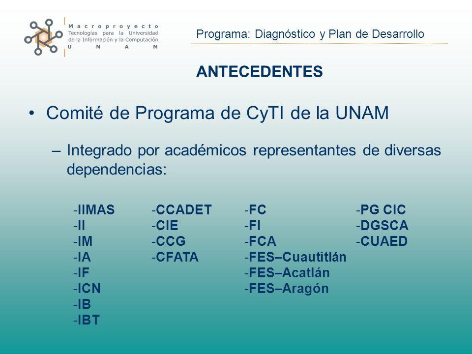 Programa: Diagnóstico y Plan de Desarrollo ANTECEDENTES Comité de Programa de CyTI de la UNAM –Integrado por académicos representantes de diversas dependencias: -IIMAS -II -IM -IA -IF -ICN -IB -IBT -FC -FI -FCA -FES–Cuautitlán -FES–Acatlán -FES–Aragón -PG CIC -DGSCA -CUAED -CCADET -CIE -CCG -CFATA