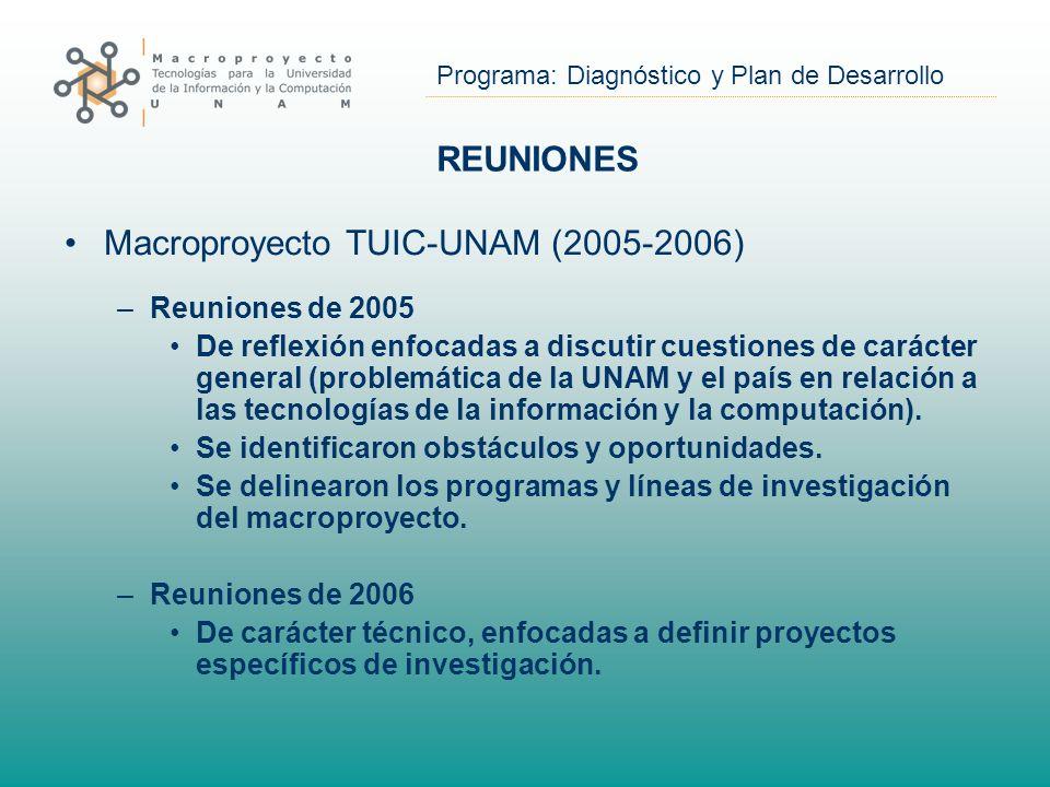 Programa: Diagnóstico y Plan de Desarrollo REUNIONES Macroproyecto TUIC-UNAM (2005-2006) –Reuniones de 2005 De reflexión enfocadas a discutir cuestiones de carácter general (problemática de la UNAM y el país en relación a las tecnologías de la información y la computación).