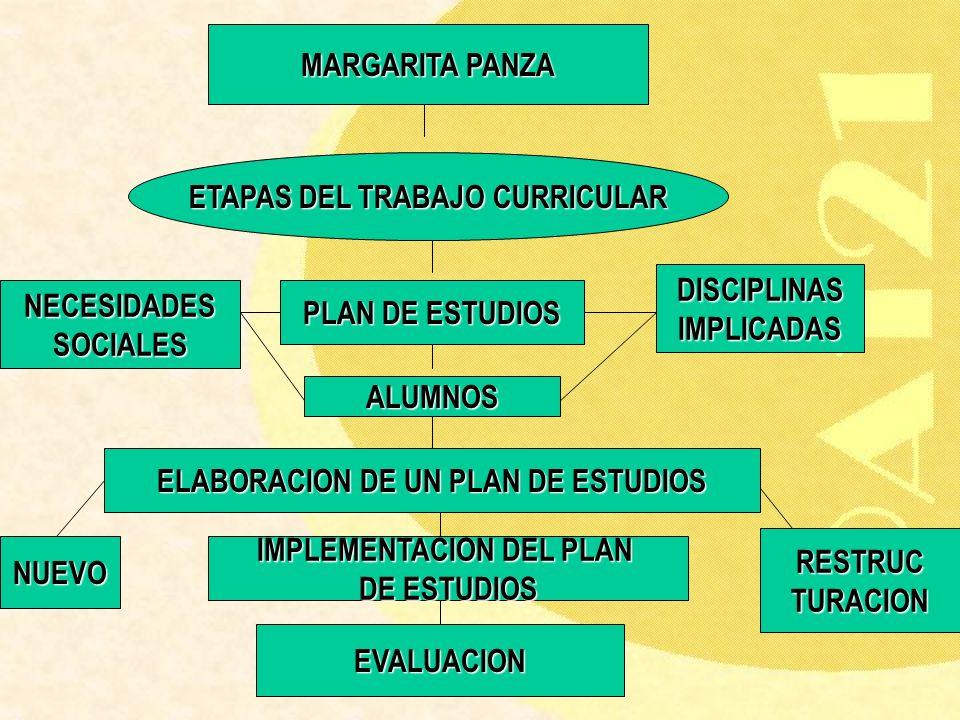 MARGARITA PANZA ETAPAS DEL TRABAJO CURRICULAR PLAN DE ESTUDIOS ALUMNOS DISCIPLINASIMPLICADAS NECESIDADESSOCIALES ELABORACION DE UN PLAN DE ESTUDIOS RE