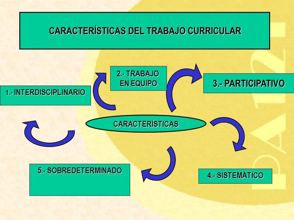CARACTERÍSTICAS DEL TRABAJO CURRICULAR CARACTERÍSTICAS DEL TRABAJO CURRICULAR 1.- INTERDISCIPLINARIO 4.- SISTEMÁTICO 5.- SOBREDETERMINADO CARACTERÍSTI