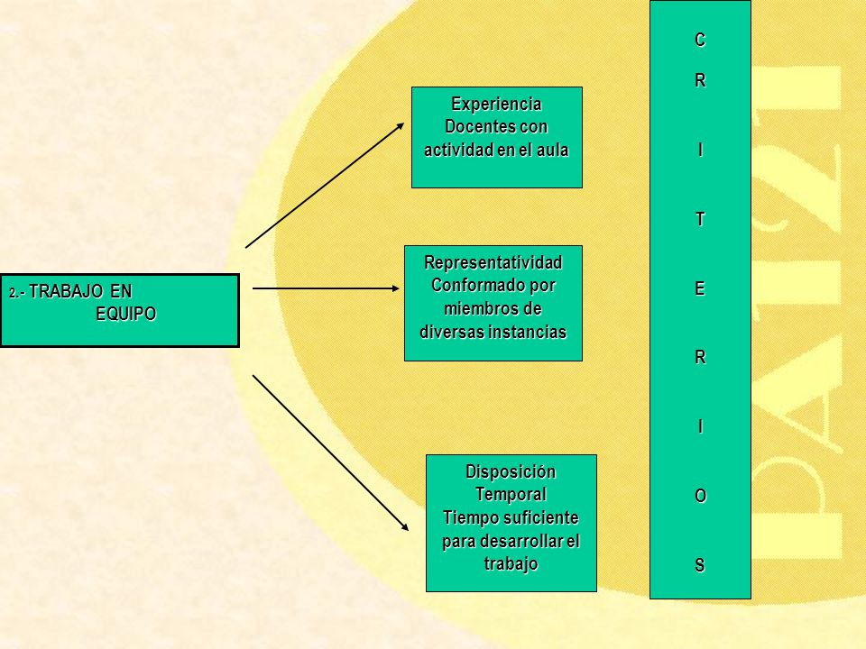 2.- TRABAJO EN EQUIPO Experiencia Docentes con actividad en el aula Representatividad Conformado por miembros de diversas instancias Disposición Tempo