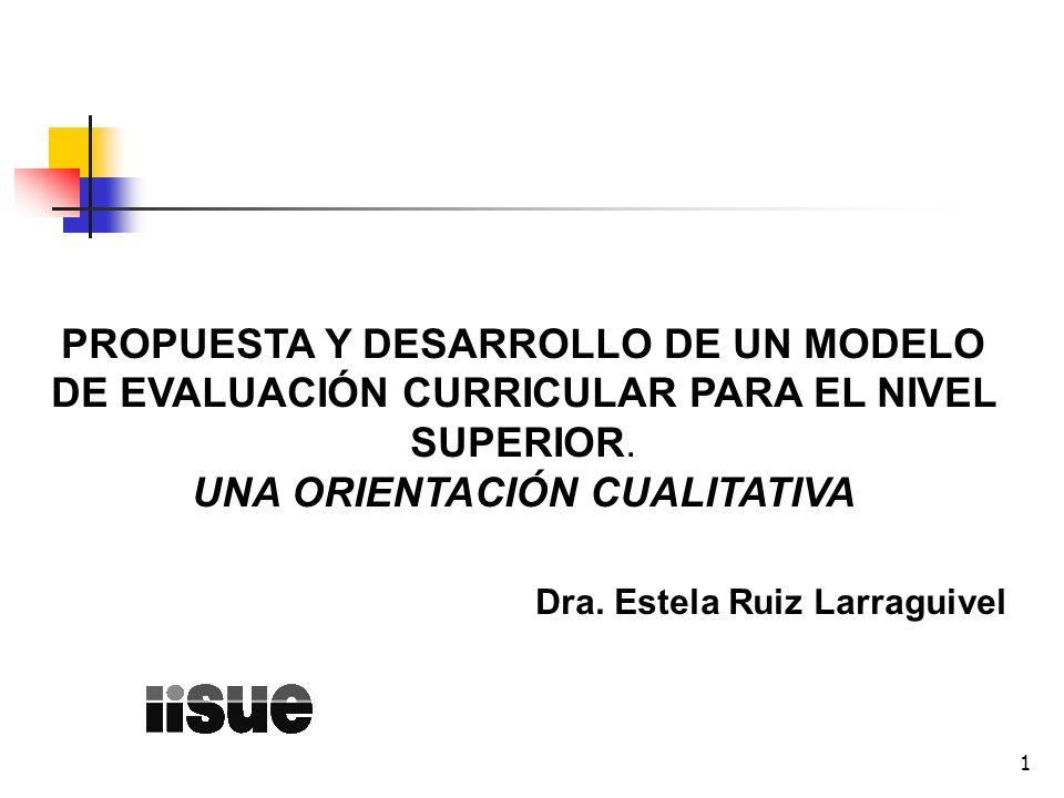 1 PROPUESTA Y DESARROLLO DE UN MODELO DE EVALUACIÓN CURRICULAR PARA EL NIVEL SUPERIOR. UNA ORIENTACIÓN CUALITATIVA Dra. Estela Ruiz Larraguivel